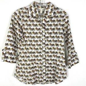 Anthropologie Weston Wear bird print shirt top